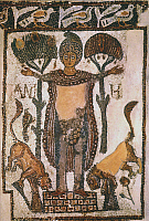 0034103 © Granger - Historical Picture ArchiveDANIEL IN THE LIONS DEN.   Mosaic from Tunisia, 5th-6th century A.D.