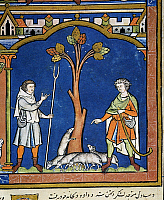 0043594 © Granger - Historical Picture ArchiveDAVID LEAVES FLOCK.   David leaves his father's flock with another (I Samuel xviii: 20). French manuscript illuminaton, c1250.