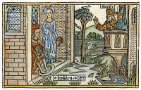 0054736 © Granger - Historical Picture ArchiveDAVID AND BATHSHEBA.   King David watches Bathsheba bathe (2 Samuel 11: 2). Woodcut from the Cologne Bible, 1478-80.