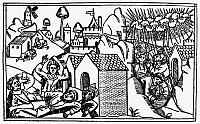 0029072 © Granger - Historical Picture ArchiveMOSES & PLAGUE.   The Final Plagues: Darkness and Slaughter of the Firstborn (Exodus 10: 21-23 and 11: 1-10). Woodcut from the Cologne Bible of 1478-80.