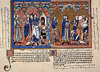 0038813 © Granger - Historical Picture ArchivePASSOVER.   The Passover and the Slaying of the First-born (Exodus 12: 21-29): French manuscript illumination, c1250.