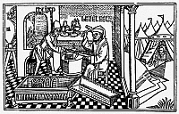 0052470 © Granger - Historical Picture ArchiveBUILDING ARK OF COVENANT.   The smiths Bezaleel and Aholiah working in gold, silver and brass for the Tabernacle and the Ark of the Covenant (Exodus 31: 1-11). Woodcut from the Cologne Bible, 1478-80.