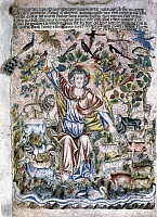 0115363 © Granger - Historical Picture ArchiveGENESIS.   The Creator. Manuscript illumination from the Holkham Bible, England, 14th century.