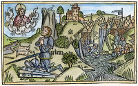 0053854 © Granger - Historical Picture ArchiveGIDEON.   At left, communes with God, seeking a sign by the formation of dew upon the fleece while at right, Gideon selects his men by the way they drink from the river (Judges 6,7). Woodcut from the Cologne Bible, 1478-80.