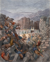 0010656 © Granger - Historical Picture ArchiveJERICHO.   The Walls of Jericho Falling Down (Joshua 6:20). Color engraving after Gustave Doré.