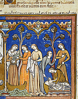 0011598 © Granger - Historical Picture ArchiveFINDING OF MOSES.   The finding of Moses by Pharoah's daughters (Exodus 2: 5-9). French manuscript illumination, c1250.