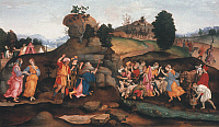 0019850 © Granger - Historical Picture ArchiveMOSES BRINGS FORTH WATER.   'Moses brings forth Water out of the Rock.' Oil and tempera on canvas by a Follower of Filippino Lippi, c1500. RESTRICTED OUTSIDE US.