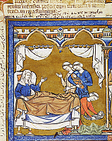 0043322 © Granger - Historical Picture ArchiveHIDING OF INFANT MOSES.   Yohevet hides her infant son, Moses (Exodus 2: 1-3). French manuscript illumination, c1250.
