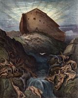 0030854 © Granger - Historical Picture ArchiveNOAH'S ARK.   The Dove sent forth from Noah's Ark (Genesis 8:11). Engraving after Gustave Doré.