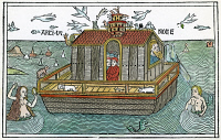 0071722 © Granger - Historical Picture ArchiveNOAH'S ARK UPON THE WATER.   Woodcut from the Cologne Bible, 1478.