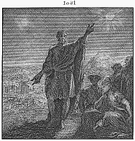0002349 © Granger - Historical Picture ArchiveTHE PROPHET JOEL.   The prophet Joel warning the ungodly of thier fate. Cooper engraving, Dutch, 18th century.