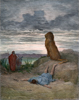 0007366 © Granger - Historical Picture ArchivePROPHET AND LION.   The disobedient prophet slain by a lion (I Kings 13:24). Line engraving after Gustave Doré.