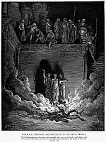 0016981 © Granger - Historical Picture ArchiveJEWS IN FIERY FURNACE.   Shadrach, Meshach, and Abednego in the fiery furnace at Babylon (Daniel 3: 20-26). Wood engraving, 19th century, after Gustave Doré.