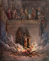 0044927 © Granger - Historical Picture ArchiveTHREE HEBREWS IN FURNACE.   Shadrach, Meshach, and Abednego in the fiery furnace at Babylon (Daniel 3: 20-26). Wood engraving, 19th century, after Gustave Doré.