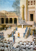 0622312 © Granger - Historical Picture ArchiveTEMPLE OF SOLOMON.   Dedication of the Temple of Solomon in Jerusalem. Painting by William Hole, c1910.