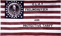 0023340 © Granger - Historical Picture ArchiveWHIG PARTY BANNER, 1844.   Whig Party Banner, featuring Henry Clay and his running mate Theodore Frelinghuysen, from 1844 U.S. Presidential campaign.