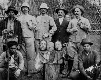 0351678 © Granger - Historical Picture ArchiveFRENCH INDOCHINA, 1908.   French colonialists posing with the heads of three people executed for poisoning French soldiers in Tonkin. Photograph, 1908.