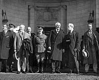 0092787 © Granger - Historical Picture ArchiveDISARMAMENT, 1921.  Delegates to the International Conference on Naval Limitation, held at Washington, D.C., 1921-1922. Lord Lee, First Lord of the Admiralty, Great Britain, is on the extreme left, General Pershing, center in uniform, and U.S. Secretary of State, Charles Evans Hughes, is second from right.