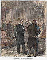 0104381 © Granger - Historical Picture ArchiveCONGRESS OF BERLIN, 1878.   British Prime Minister Benjamin Disraeli (left) conversing with Prince Aleksandr Gorchakov of Russia at the Congress of Berlin in 1878. Contemporary English wood engraving.