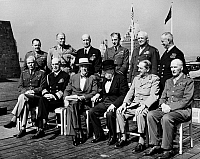 0108186 © Granger - Historical Picture ArchiveQUEBEC CONFERENCE, 1944.   The Second Quebec Conference, held at Quebec City, Canada, September 1944. Front row, from left: Gen. George C. Marshall, W.D. Leahy, President Franklin D. Roosevelt, Prime Minister Winston Churchill, Field Marshal Sir Alan Brooke, and Field Marshal John Dill.