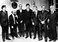 0123879 © Granger - Historical Picture ArchiveNOBEL PRIZE, 1976.   1976 Nobel laureates, all American, attending a reception at the Stockholm Stock Exchange, 9 December 1976. From left: Carleton Gajdusek (Medicine); Milton Friedman (Economics); William Lipscomb (Chemistry); Samuel C.C. Ting (Physics); Burton Richter (Physics); Baruch S. Blumberg (Medicine); and Saul Bellow (Literature).