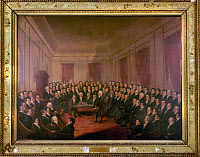 0131706 © Granger - Historical Picture ArchiveVIRGINIA CONVENTION, 1829.   James Madison addressing the Virginia Constitutional Convention at Richmond, 1829-1830. Contemporary oil painting by George Catlin.