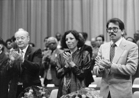 0526476 © Granger - Historical Picture ArchiveWORLD TRADE UNION, 1986.  Harry Tisch, Rosario Murillo and Daniel Ortega at the World Trade Union Congress in Berlin, Germany. Photograph, 22 September 1986. Full credit: Boom - ullstein bild / Granger, NYC.