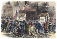 0010740 © Granger - Historical Picture ArchiveNEW YORK: ELECTION, 1864.   A Lincoln and a McClellan supporter coming to blows outside a polling place in a slum district of New York City ('Five Points') on election day 8 November 1864. Contemporary color engraving.