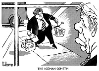 0621517 © Granger - Historical Picture ArchiveCARTOON: PRESIDENTIAL PRIMARY, 1980. Cartoon comment on the Democratic Primary race between incumbent Jimmy Carter and Senator Ted Kennedy, referencing Kennedy's attacks on Carter regarding his handling of inflation and the Cold War. The title refers to the play 'The Iceman Cometh' by Eugene O'Neill. Cartoon by Edmund Valtman, 31 January 1980.