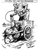 0126814 © Granger - Historical Picture ArchiveLEAGUE OF NATIONS, 1919.   'And Still the Cart has Precedence.' American cartoon comment by W.A. Rogers, March 1919, on the resistance to the League of Nations.