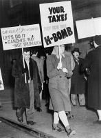 0325508 © Granger - Historical Picture ArchiveNUCLEAR PROTEST, 1950.   Members of the Catholic Worker Movement picketing against the use of tax dollars for the development of nuclear weapons. Photograph by Fred Palumbo,