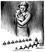 0056470 © Granger - Historical Picture ArchiveCARTOON: UNITED NATIONS.   'Observers at San Francisco.' American cartoon, 1945, by D.R. Fitzpatrick suggesting that the mothers of the world are watching as the Charter of the United Nations is drafted at San Francisco in the spring of 1945.