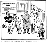 0056472 © Granger - Historical Picture ArchiveCARTOON: UNITED NATIONS.   English cartoon, 1945, by David Low criticizing the Charter of the United Nations, signed 26 June at San Francisco by representatives of fifty member nations. RESTRICTED OUTSIDE US.