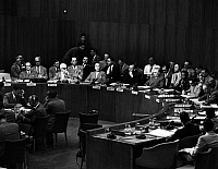 0106985 © Granger - Historical Picture ArchiveUNITED NATIONS, 1948.   Count Folke Bernadotte, Swedish diplomat appointed as the United Nations mediator in Palestine, addressing the Security Council on 13 July 1948.