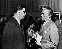 0106997 © Granger - Historical Picture ArchiveFOLKE BERNADOTTE (1895-1948).   Count of Wisborg and Swedish diplomat. Bernadotte (right) speaking with United Nations Israeli delegate, Major Aubrey Eban, in the Delegates Lounge at Lake Success, New York, 13 July 1948.
