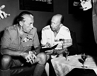 0106999 © Granger - Historical Picture ArchiveFOLKE BERNADOTTE (1895-1948).   Count of Wisborg and Swedish diplomat, appointed as the United Nations mediator in Palestine in 1948. Bernadotte (left) with his chief of staff, General Aage Lundstrum, 1948.
