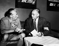 0107001 © Granger - Historical Picture ArchiveFOLKE BERNADOTTE (1895-1948).   Count of Wisborg and Swedish diplomat, appointed as the United Nations mediator in Palestine in 1948. Bernadotte (left), speaking with Sir Raphael Cilento, director of disaster relief in Palestine, 1948.