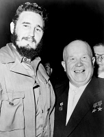 0623579 © Granger - Historical Picture ArchiveCASTRO AND KHRUSHCHEV.   Cuban revolutionary leader, Fidel Castro (left) and Soviet politician Nikita Khrushchev, at the United Nations. Photograph, 1960.