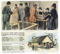 0008502 © Granger - Historical Picture ArchiveFIRST SECRET BALLOT, 1889.   The Australian (secret) ballot system in use at Boston, Massachusetts, in 1889. Contemporary American wood engraving.