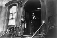 0133642 © Granger - Historical Picture ArchiveJOHN JACOB ASTOR IV   (1864-1912). American businessman. Astor and his future wife, Madeleine Force, exiting a building in New York City, 1911.