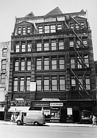 0170541 © Granger - Historical Picture ArchiveRUDOLPH ABEL (1903-1971).  Alias of Vilyam Fisher, a Soviet spy. The building at 252 Fulton Street in Brooklyn, New York, where Abel had a studio on the fifth floor while posing as an artist. Photograph by the Associated Press, August 1957.