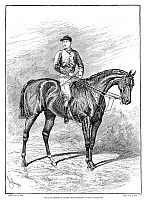 0268430 © Granger - Historical Picture ArchiveFREDERICK ARCHER (1857-1886).   English jockey, on the horse Bend Or. Engraving, English, 1886.