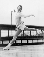0633836 © Granger - Historical Picture ArchiveTENLEY ALBRIGHT (1935- ).   American figure skater and surgeon. Training for the World Figure Skating Championships. Photograph, 1954.