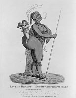 0131122 © Granger - Historical Picture ArchiveTHE HOTTENTOT VENUS, 1811.   Saartjie Baartman, the 'Hottentot Venus' (1789-1815). Originally from South Africa, Baartman was exhibited as a sideshow attraction in France for her exaggerated physical characteristics. Caricature etching, 1811.