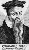 0168931 © Granger - Historical Picture ArchiveTHEODORE DE BÈZE (1519-1605).   French Protestant theologian and scholar. Copper engraving, 17th century.