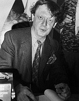 0169945 © Granger - Historical Picture ArchiveANTHONY BURGESS (1917-1993).   English writer. Burgess signing copies of his book, 'A Clockwork Orange,' at the Cannes Film Festival where the film made by Stanley Kubrick was screened. Photograph, 16 May 1971.