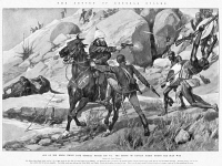 0370711 © Granger - Historical Picture ArchiveREDVERS BULLER (1839-1908).   English general. Buller rescuing Captain Cecil D'Arcy on 28 March 1879 during the Zulu War, for which he was awarded the Victoria Cross. Drawing by Richard Caton Woodville, c1900.