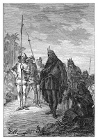 0407606 © Granger - Historical Picture ArchiveJEAN DE BETHENCOURT   (1362-1425). French explorer and conquerer. Bethencourt receiving King Maxorata of Fuerteventura of the Canary Islands in order to make peace with Bethencourt and to convert to Christianity, 1405. Engraving from 'Famous Travels and Travellers,' by Jules Verne, 1892.