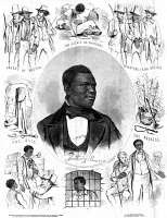 0525797 © Granger - Historical Picture ArchiveANTHONY BURNS (1834-1862.)   American preacher and slave. Engraving illustrating his escape from slavery and subsequent arrest and trial under the Fugitive Slave Act.