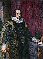 0635097 © Granger - Historical Picture ArchiveFRANCIS BACON (1561-1626).   Viscount St. Albans. English philosopher, statesman, and author. Line engraving after a painting from the studio of Paul Van Somer.
